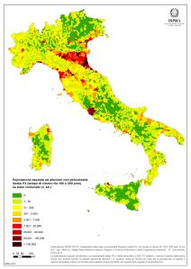 Popolazione esposta al rischio alluvioni. Fonte Ispra 2015